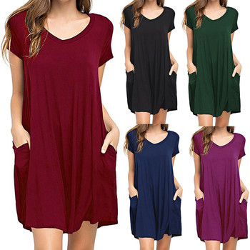 Women Dress Summer Casual Solid Loose Dress Plus Size Plain Simple Pocket T shirt beach Dress Short Dresses Vestido 2018 1