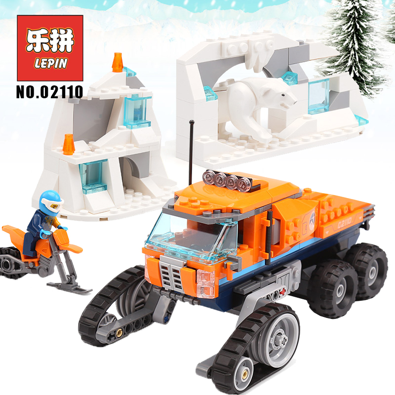 Lepin 02110 City series Arctic Expedition the Arctic Scout Truck 60194 Model Building Blocks Legoinglys Bricks Toys for Children lepin 02112 new city series the arctic supply plane set 60196 building blocks bricks legoinglys toys model boy christmas gifts