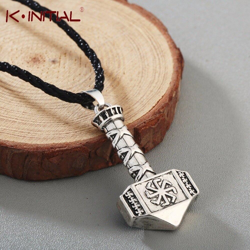 Kinitial Antique Kolovrat Pendant Necklace Slavic Hammer Of Thor Necklaces Charm Sun Wheel Simple Viking Necklace Jewelry