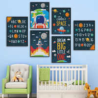 Creative Astronaut Alphabet Numbers Nursery Wall Art Canvas Painting Nordic Posters And Prints Wall Pictures Kids Room Decor