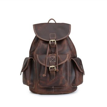 Leather Backpack Deep Brown Vintage Genuine Leather Travel Backpacks Rucksack School Laptop Camping Hiking Bag for College