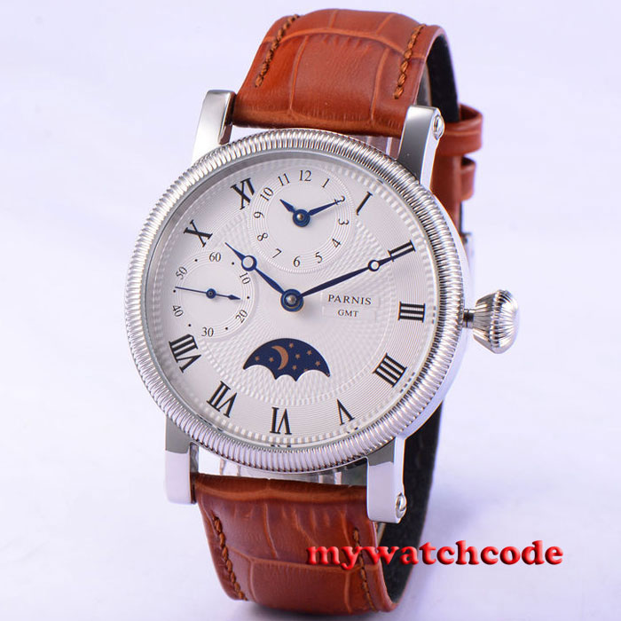 42mm parnis white dial roman number GMT hand winding movement mens wristwatch 60 42mm parnis pink dial gmt moon phase hand winding movement mens watch pa061