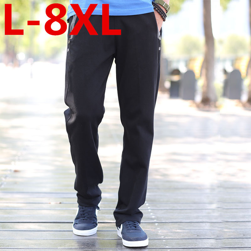2018 Plus size 8XL 7XL 6XL 5XL Casual Pants Male Trousers Straight Spring and summer Health Pants Male Large size pantsTrousers outdoor softshell hiking pants men 5xl 6xl 7xl 8xl waterproof breathable bottoms male trekking sports large size trousers