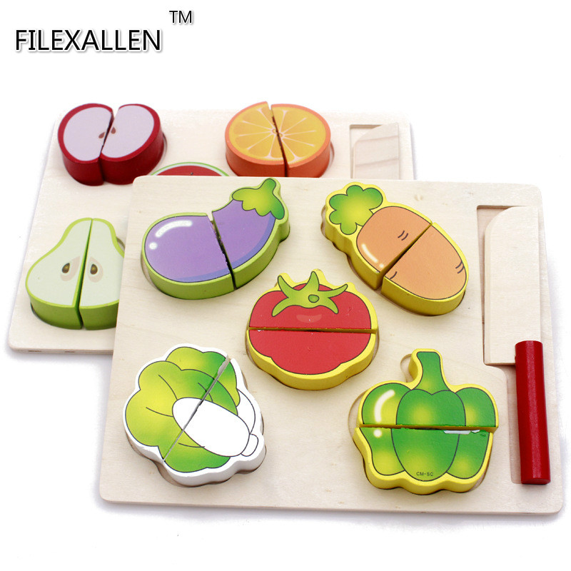 3D Simulation Fruits and Vegetables Model Puzzle Toys Children Puzzle Game Child Toy Woo ...