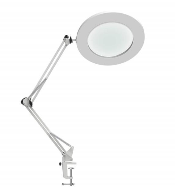 7W LED Magnifying Lamp Metal Clamp Swing Arm table Lamp Stepless Dimming 3Colors ,Magnifier LED lamp 5X,4.1Diameter Lens