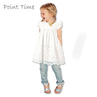 2015 Fashion Baby Girl Lace Infant Dress Princess Summer Style White Short Sleeve Hollow Dress Girls