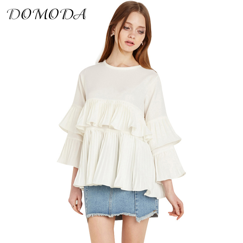 DOMDOA Apparel White Sweet Casual Women Blouse Shirt Ruffle Drap Slim Female Shirt Summer Frill Chic Basic Chiffon Blouse