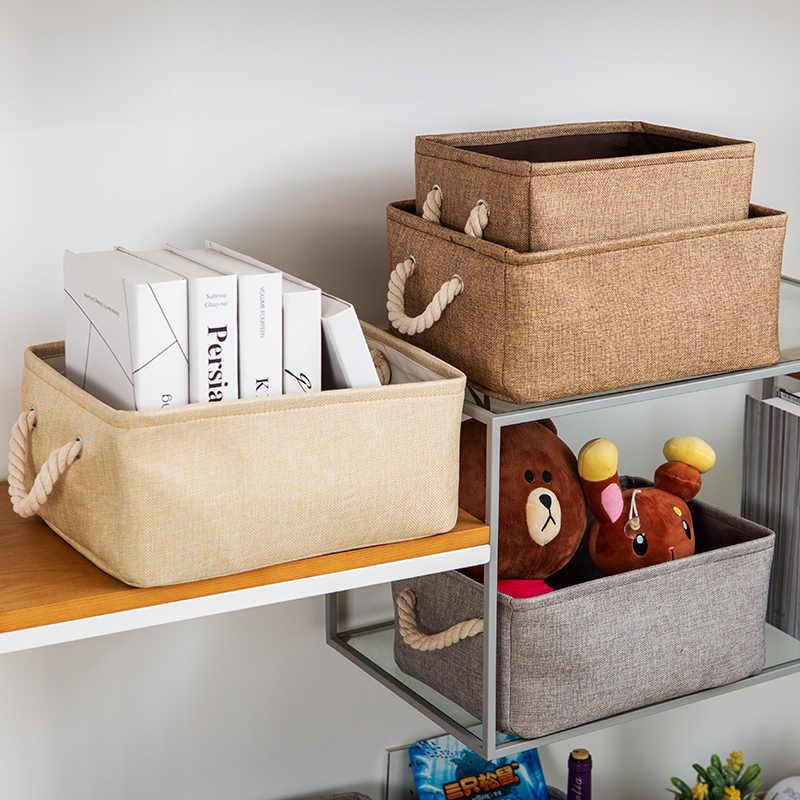 Novo tecido De Linho grande dobrável Saco de Armazenamento de Roupas cesta de armazenamento caixa de armazenamento de brinquedos infantis organizador Titular com Alça
