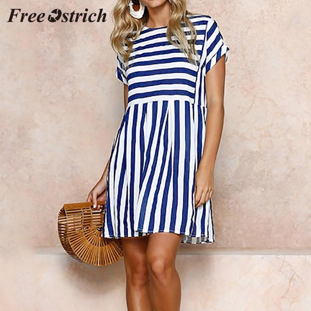 Striped Short Sleeved Summer Swing Dress