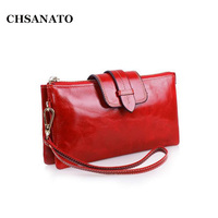 CHSANATO European and American Style Women Wallets And Purses Long Wallet Phone Clutches Female Purse Wristlet Metal Chain Bags