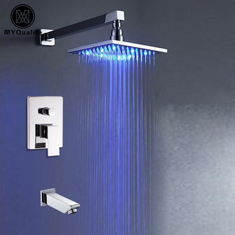 Modern RGB Color Changing Bathroom 8 Rain Bath Tub Shower Faucet Wall/ceiling Mounted Chrome LED Light Shower Mixer Taps modern thermostatic shower mixer faucet wall mounted temperature control handheld tub shower faucet chrome finish