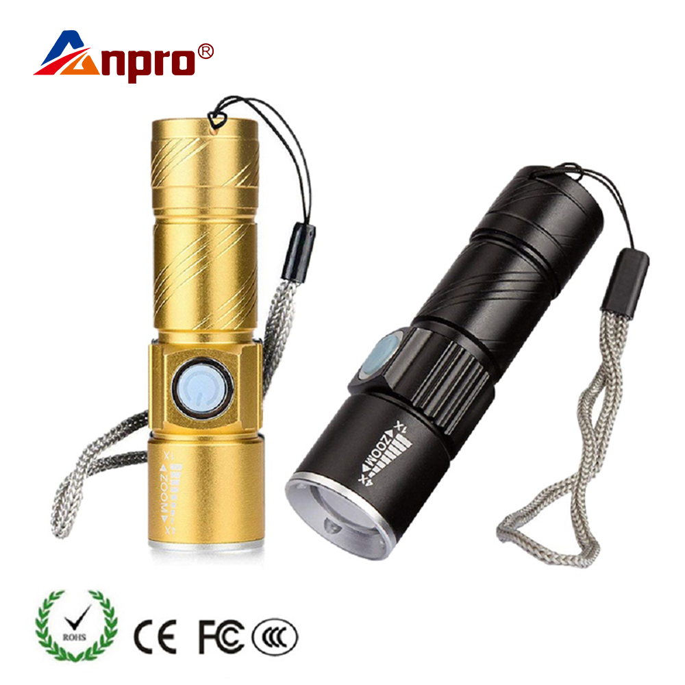 Anpro Mini USB LED Flashlight Torch Outdoor Camping Light Rechargeable Waterproof Zoomable Lamp 3 Mode Handy Flash Light