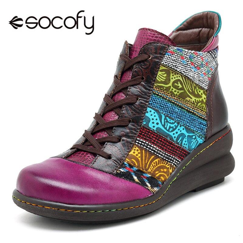 Socofy rétro en cuir véritable femmes vulcaniser chaussures Femme à lacets haut chaussures décontractées Baskets femmes talon compensé Baskets Femme