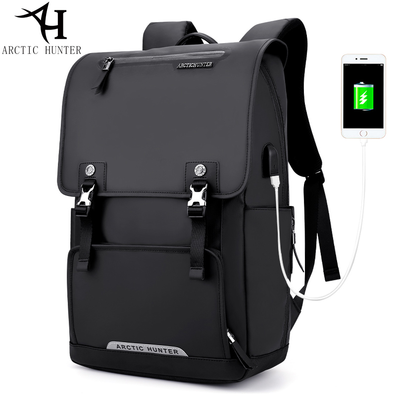 ARCTIC HUNTER USB Charge Port Backpack Large Capacity Laptop Backpack Men Travel Bag Oxford+PU Leather Back packs Waterproof Bag lielang men pu leather backpack waterproof large capacity 14 inch laptop bag usb charge camouflage backpack bag mochila rucksack