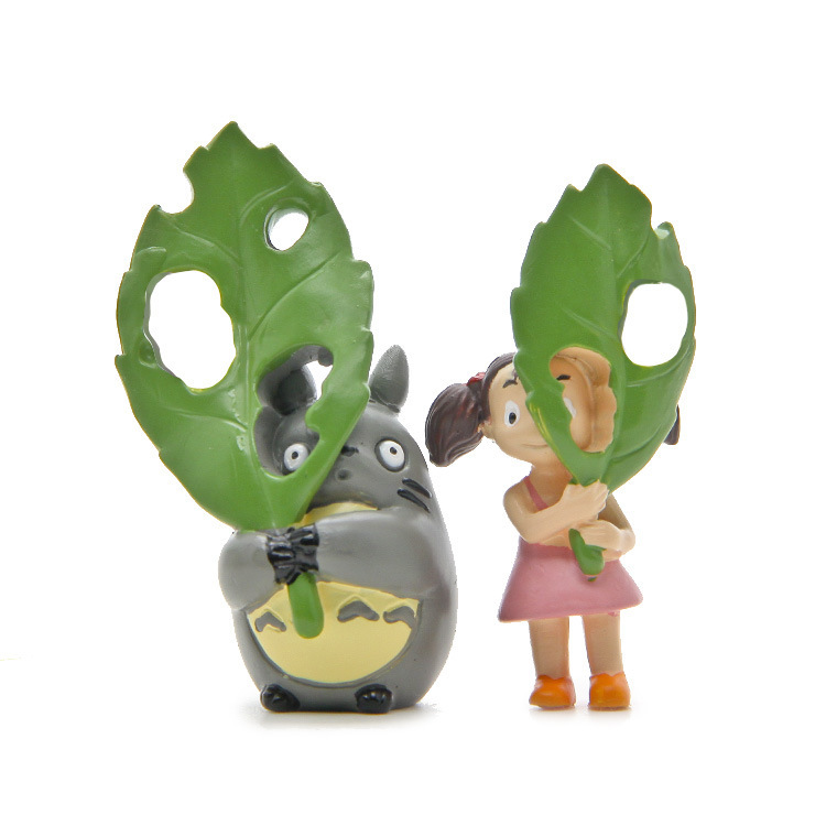 Baby toys Miyazaki Hayao Giant Cat Peas Dragon Hands holding large green leaves black cat small plum action & toy figures dolls