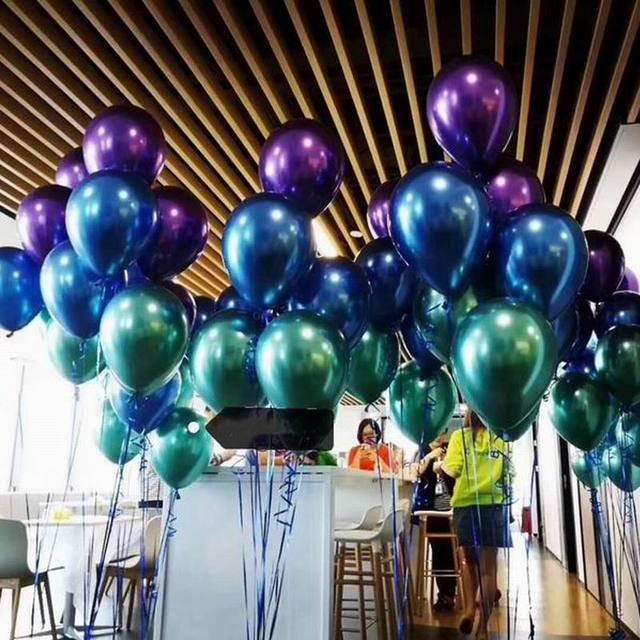 10pcs 5/10/12inch Glossy Metal Pearl Latex Balloons Thick Chrome Metallic Colors helium Air Balls Globos Birthday Party Decor 2