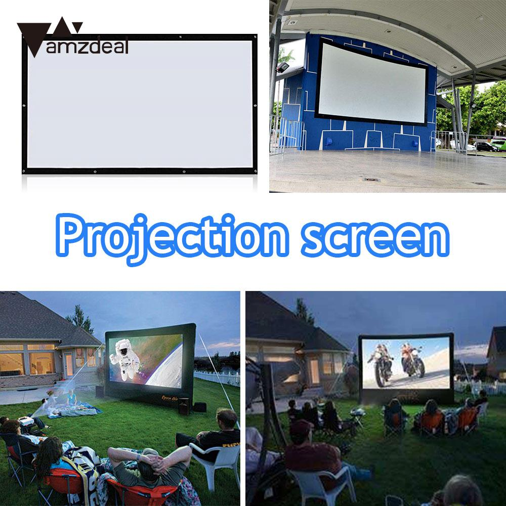 Projector Screen Projection Screen Projection Curtain Light Weight Durable Foldable 100 Inch Fiber Canvas HD 4:3 Indoor Outdoor