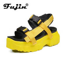 Fujin Casual Sandals Female Summer Ins Tide Dropshipping 2019 New Fashion Wild Sponge Cake Thick Bottom Sports Beach Roman Shoes