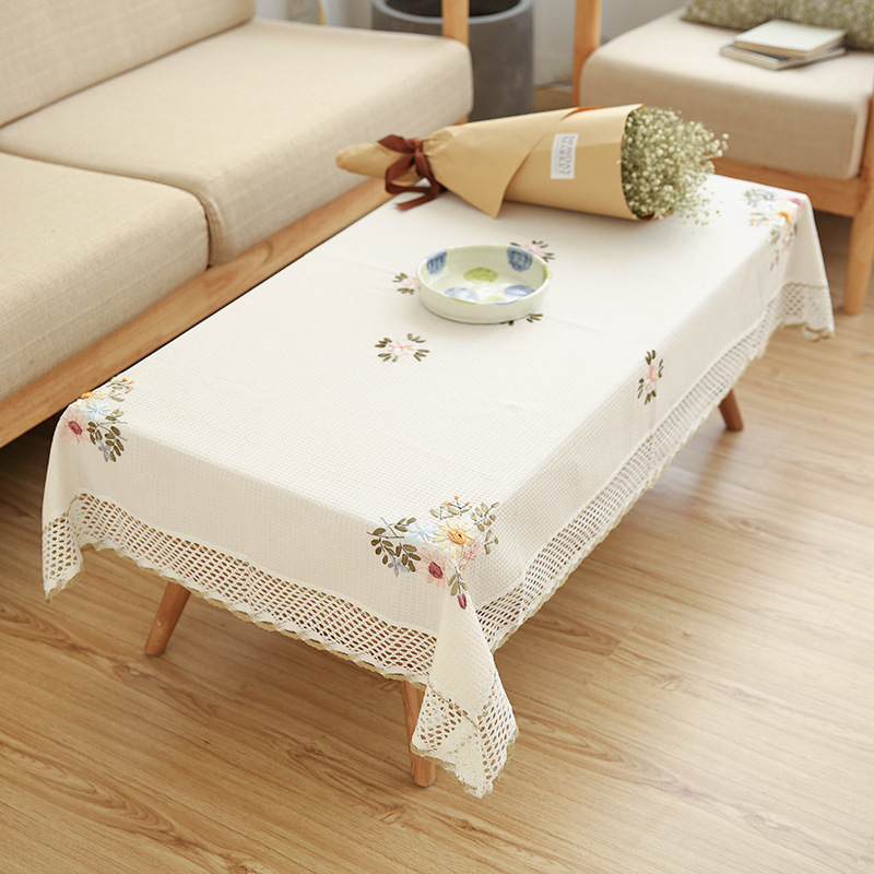 Europe Flowers Tablecloth White Hollow Lace Cotton Linen Dustproof Table cloth 2