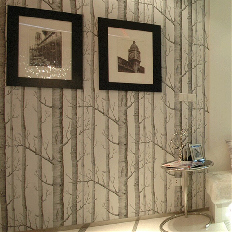 beibehang Birch Tree pattern woods wallpaper roll modern designer wallcovering simple black and white wallpaper for living room wood wall wallpaper birch tree pattern non woven woods wallpaper roll modern designer wallcovering simple papel de parede 3d
