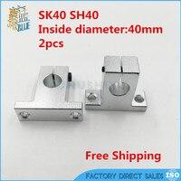 Envío gratis 2 unids SH40A SK40 40mm Eje Soporte CNC Router
