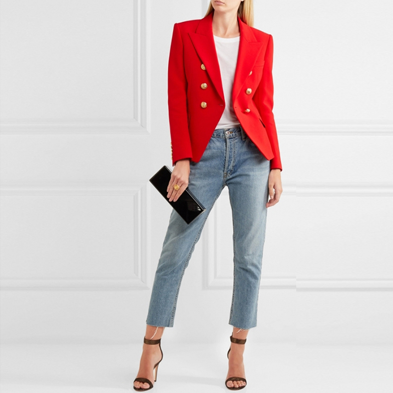 HAGEOFLY Autumn Winter Red Blazer Women Office Slim Formal Jacket Coat Casual Double Breasted Metal Buttons