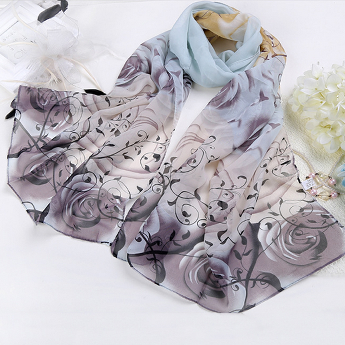 Comfortable India Promotion Rose Print Chiffon Polyester Scarves Woman Thin Shawl Turban Belt Hijab Fashion Arabic Scarfs Wrap