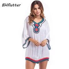 BHflutter 2018 Women Dress Half Sleeve Floral Embroidery Summer Dress  Cotton Linen Casual Shift Dresses Woman 58fcd1f160f2