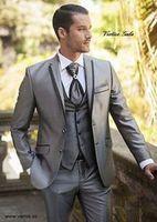 2018 Custom Made Bello Argento Mens Vestiti Sottili Abiti Da Sposa Smoking Formale Partito Abiti Da Sposa (Jacket + Pants + Vest)