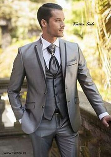 2018 Custom Made Handsome Silver Mens Slim Suits Wedding Suits Bridal Tuxedos Formal Party Suits (Jacket+Pants+Vest)