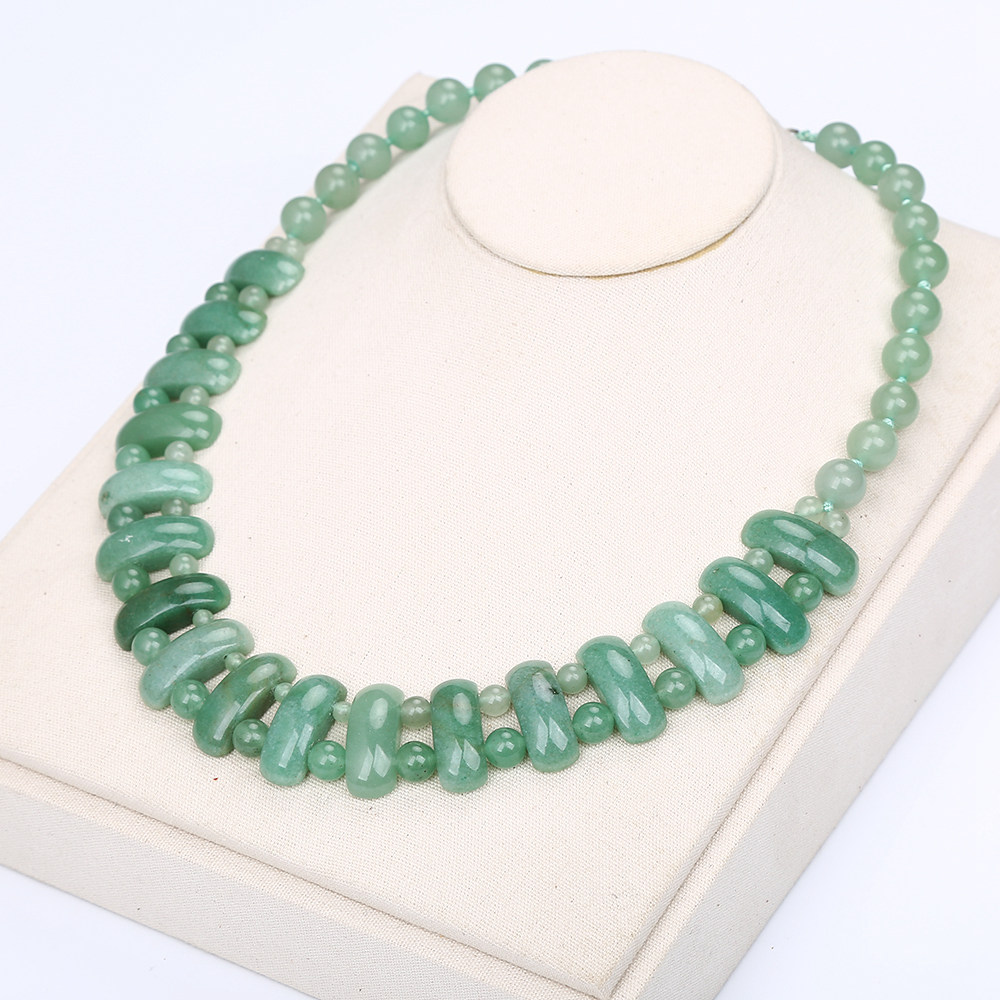 Healing Crystal Natural Stone Aventurine Jade Women Big Necklace Bohemian Style Beads Exquisite Jewelry Gifts Pendant Necklace nc 5364 women s bohemian style delicate floral necklace w pendant golden blue 26cm