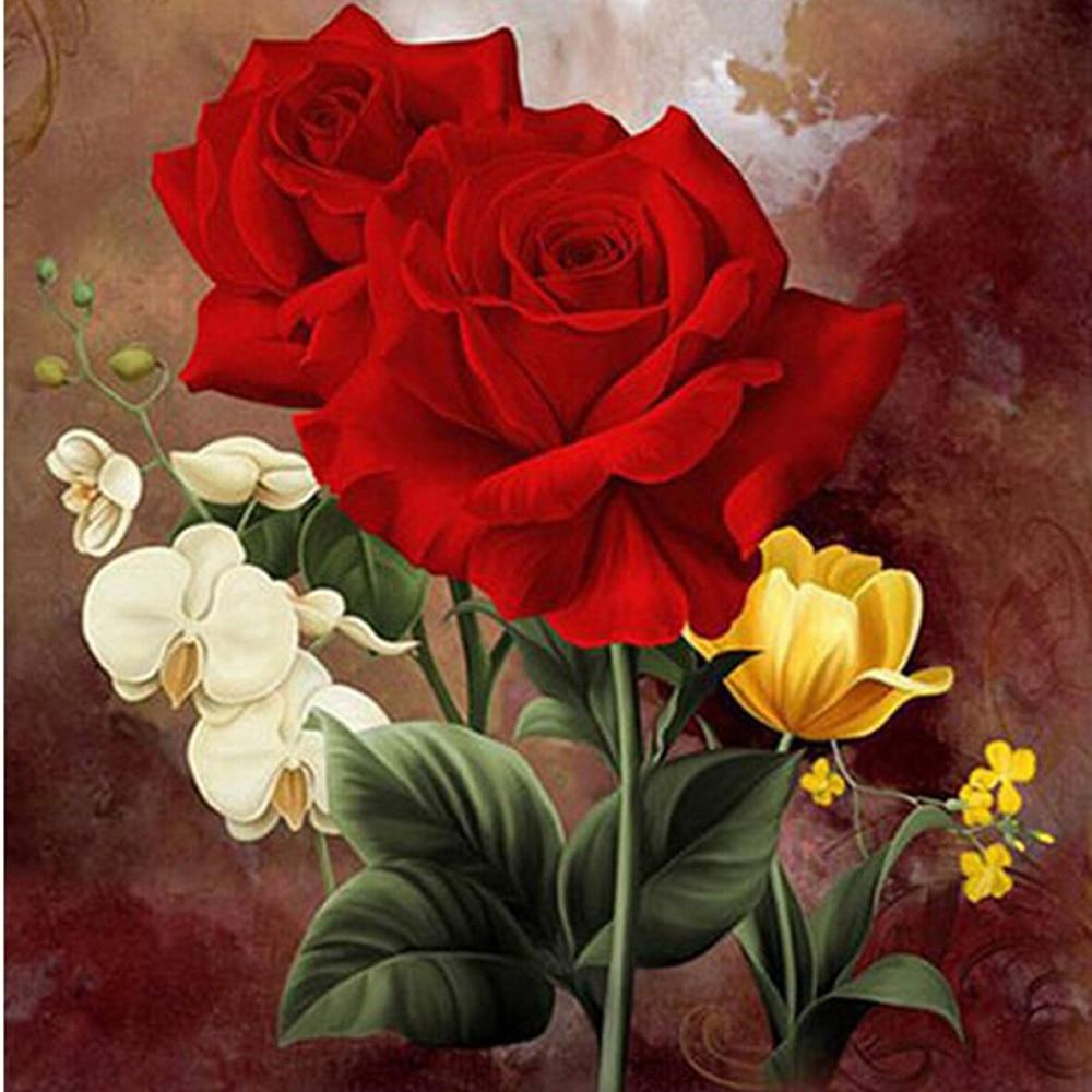 Us 539 17 Offev Ve Bahçeten Elmas Boyama çapraz Dikişde Yeni Mozaik Tam Elmas Boyama Nakış Boncuk Güzel Kırmızı Gül çiçekler çiçek Elmas çapraz