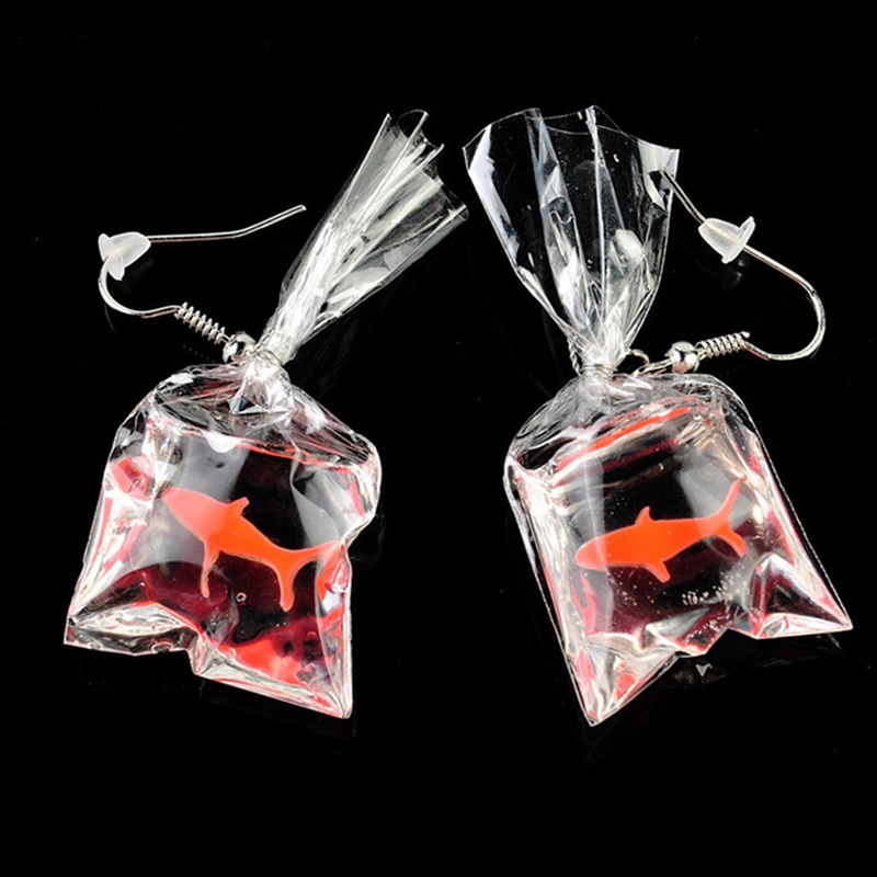 2019 Kawaii Cartoon Resin Goldfish Imitation Water Bag Shape Fashion Charms Earrings