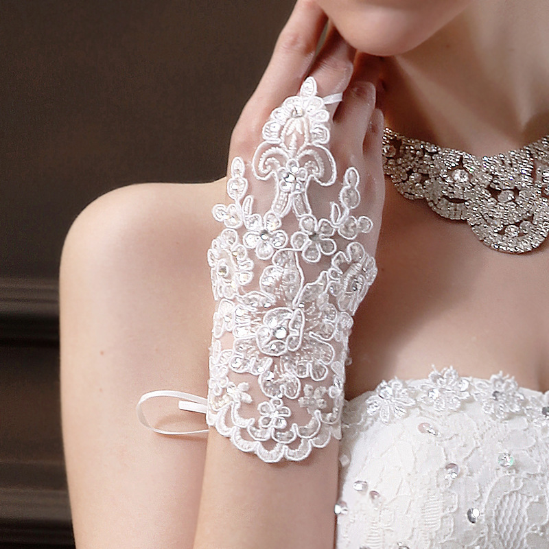 Fingerless Red Lace Bröllopshandskar för Brud Sexiga Brudhandskar - Bröllopstillbehör - Foto 6