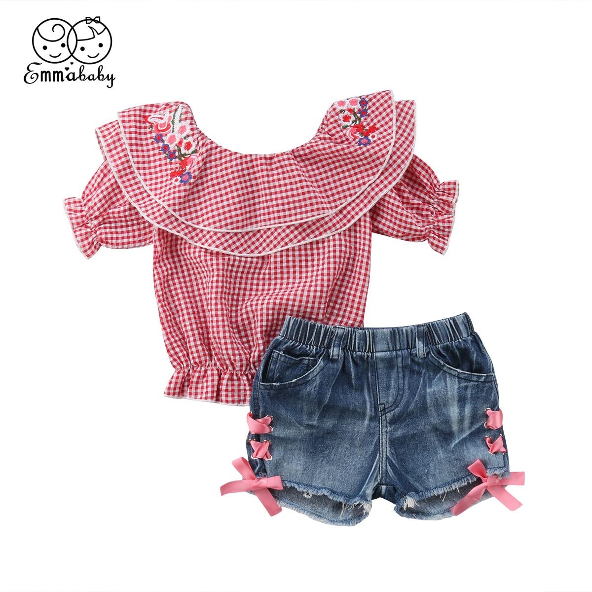 7e055edf2 Summer New Fashion Newborn Kids Baby Girls Off Shoulder Ruffles Palid Tops  Shirt Denim Pants Shorts 2Pcs Cute Kid Outfit Sets