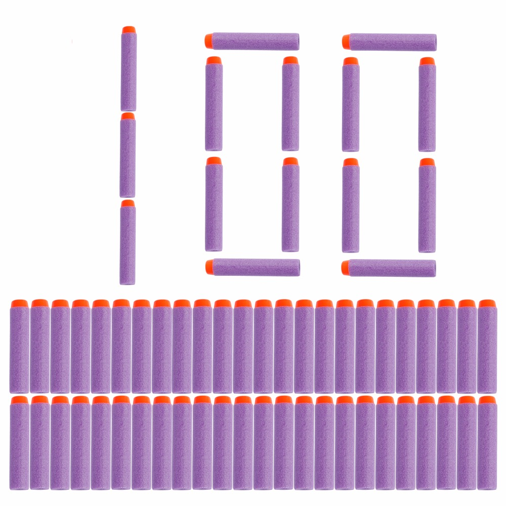 100PC Purple For Nerf Bullets Soft Hollow Hole Head 7.2cm Refill Darts Toy Gun Bullet For Nerf Series Blasters Kid Children Gift