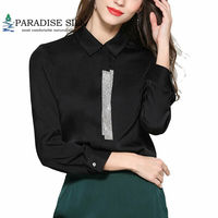 Women Blouse With Bow Real Silk Stretch Satin Long Sleeve Lady V Neck Shirt for Lady