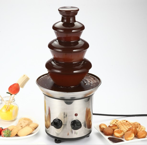 220v 4 Tiers Electric Chocolate Fountain maker machine Sauce heater Chocolate Fondue Wedding Birthday Christmas pump Machine недорого