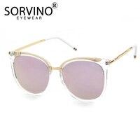 SORVINO 2018 Classic Pink Oval Erika Sunglasses Women Polarized Luxury Brand Designer Gold Metal Sun Glasses