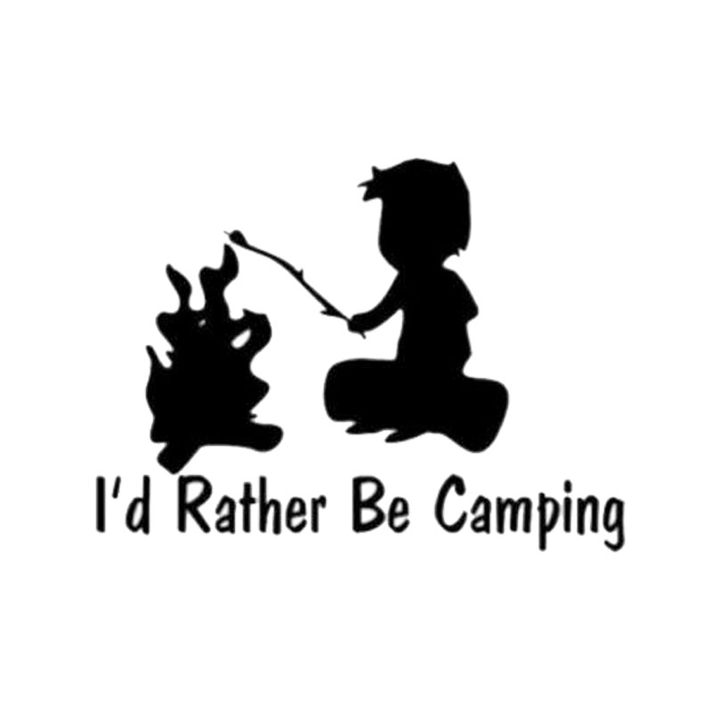 12cm*8.5cm Personalized Id Rather Be Camping Cute Boy Window Stickers C5-1445