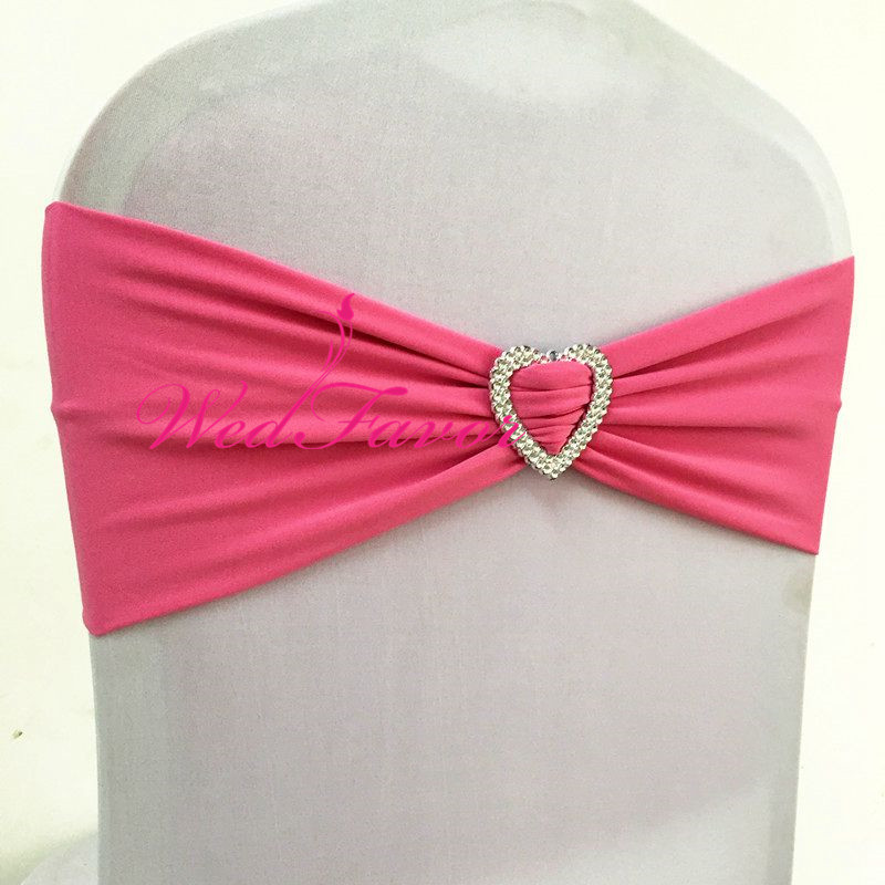 100pcs Rose Pink Lycra Spandex Chair Cover Sash Bands With Heart Buckle Elastic Stretch Chair Bow