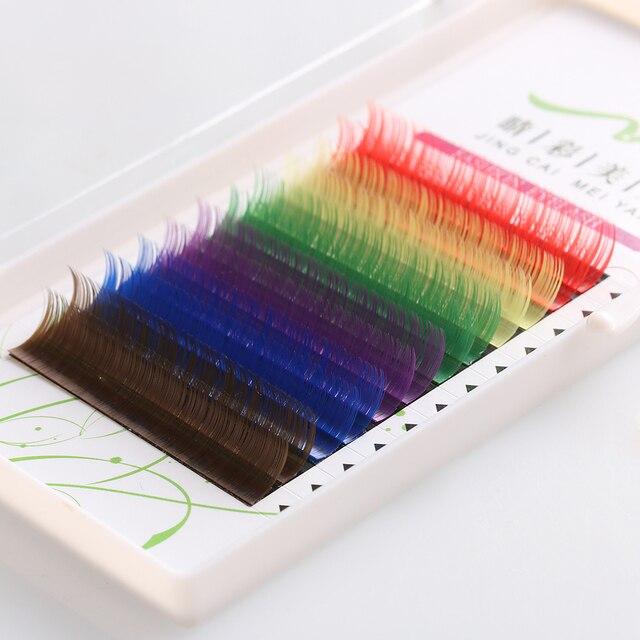 1 Case Handmade 12 Rows Rainbow Colorful Synthetic Individual False Eyelashes Fake Eye Lashes Extension Makeup Tools False Eyelashes