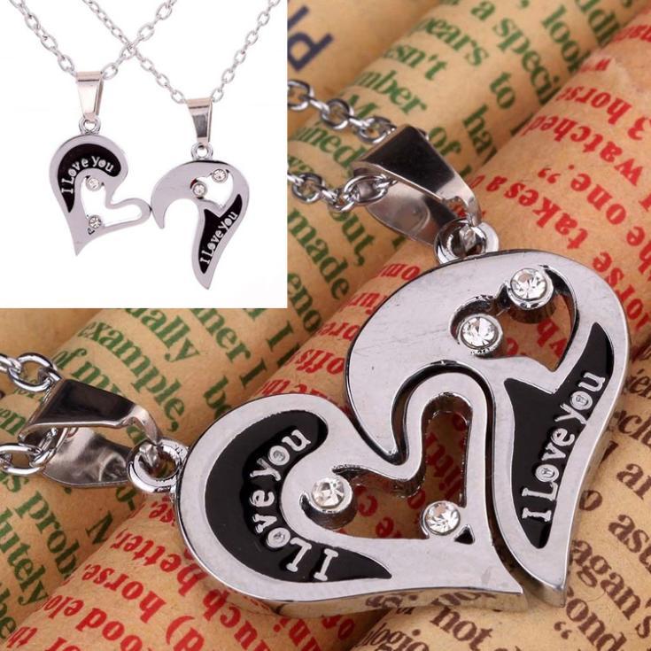 ef016a7b34f5 Mode 1 Paire Je T aime En Forme de Coeur Collier Pendentif Avec ...