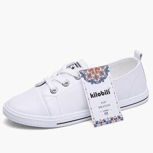 Image 2 - Kilobili Mùa Xuân 2018 Đế Phẳng nữ Phối Ren ba lê căn hộ cho Nữ Giày da nữ thuyền giày nữ giày sneaker trắng
