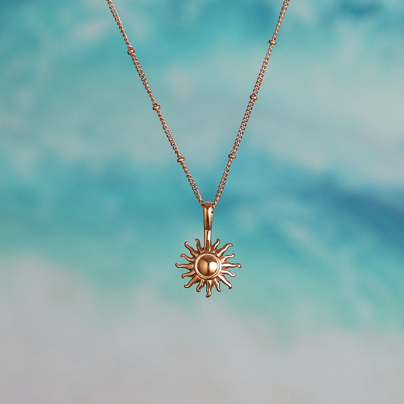 Newest 316L Stainless steel SUN Pendant Necklace Popsocket Vintage Bead Ball Sun Flower Necklace for Woman Beach Girl Best Gift