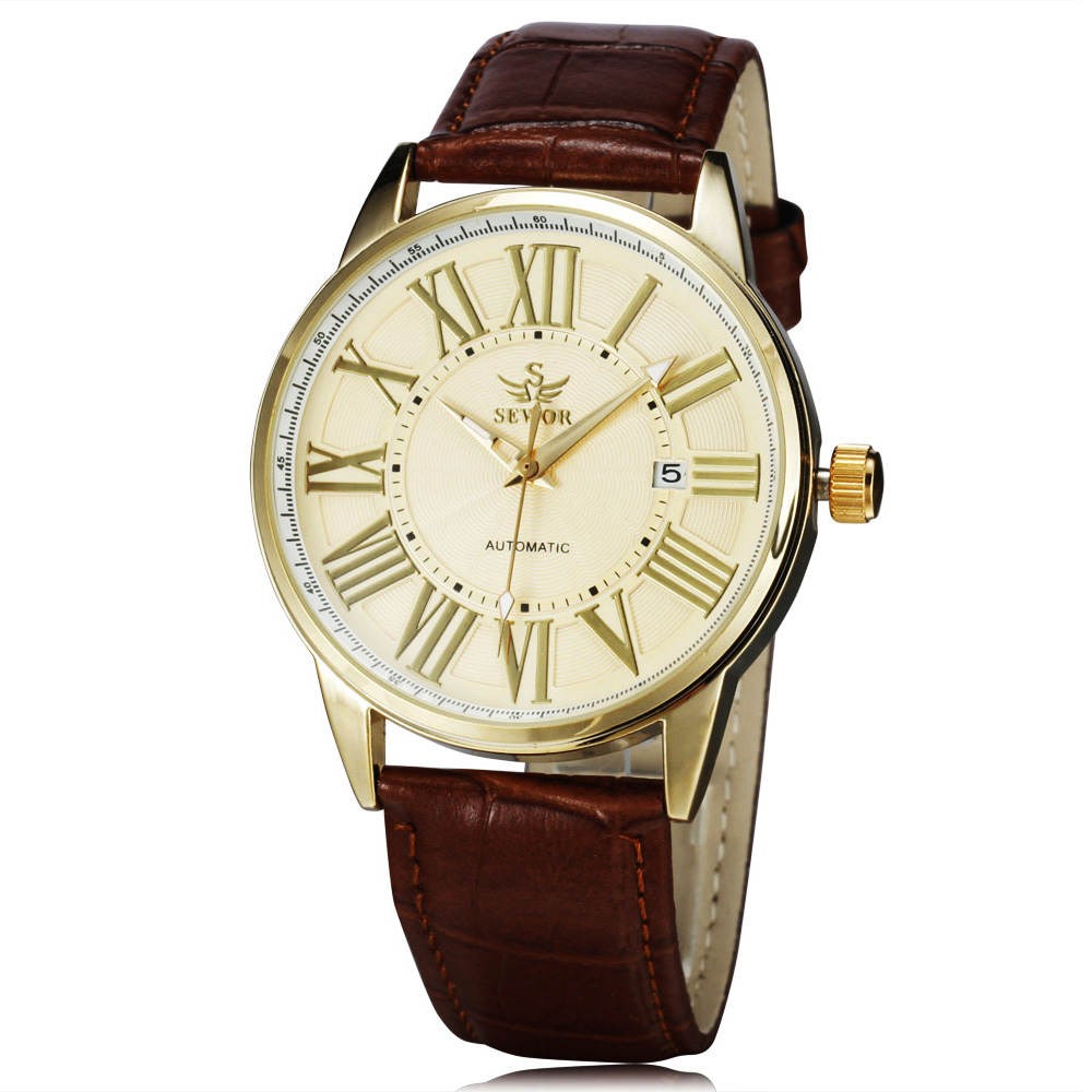 Image 2 - 2016 new fashion SEWOR brand design business calendar clock men male automatic mechanical self wind leather wrist dress watch-in Mechanical Watches from Watches