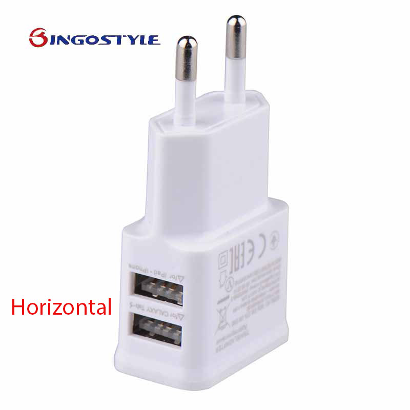 5V 2A Travel Power Supply Double USB Port Wall Charger Adapter With Light For Iphone For Samsung