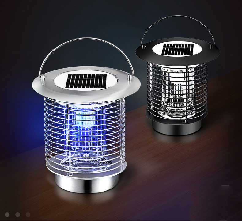 Stainless Steel 1W Solar Mosquito Killer UV Lamp Outdoor Lawn LED Mosquito Bug Repellent Light Hanging Mosquito Lamp For Garden outdoor garden light led solar panel mosquito killer dual use lamp no radiation courtyard garden catch mosquito trap lighting