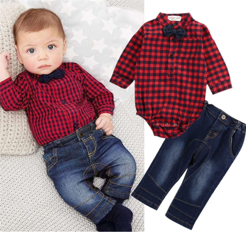 00efef31b Detail Feedback Questions about 2pcs Toddler Kids Baby Cowboy Suit Plaid  Long Sleeve Shirt Romper And High Quality Jeans 2PCS Autumn Out Wear Sets  on ...