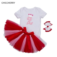 Crown 2 Years Birthday Outfits Summer Baby Girl Bodysuit Lace Skirt Headband Set Infant Jumpsuit Robe